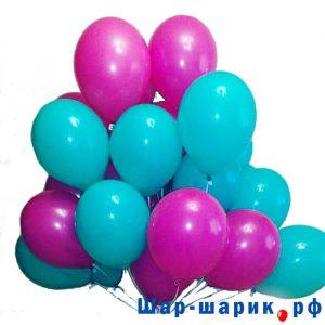 Облако шаров пастель бирюзовые и фукси