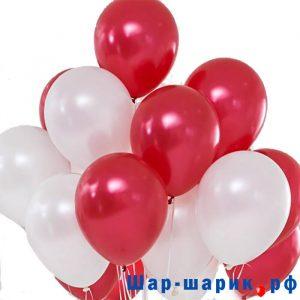 Облако шаров металлик красные и белые