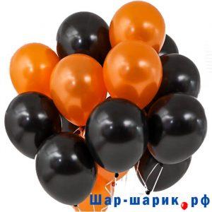 Облако шаров металлик оранжевые и черные