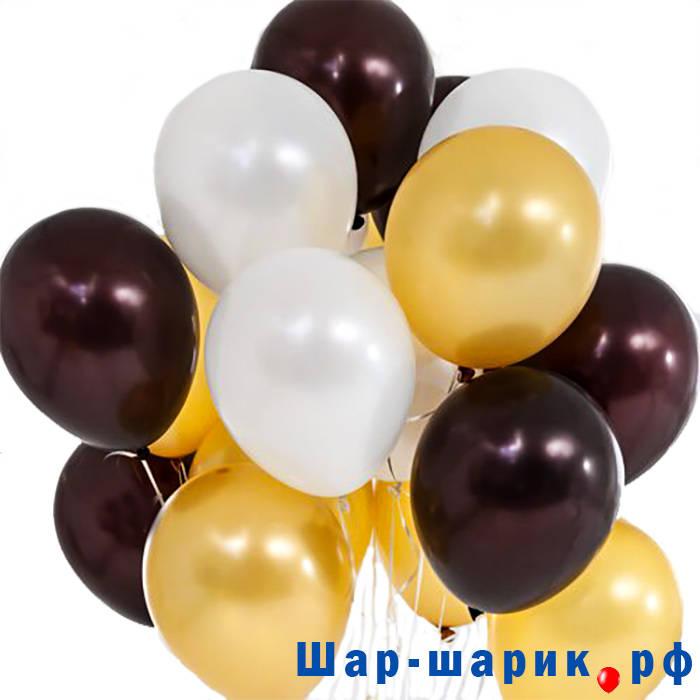 Облако шаров металлик черные, белые, золотые