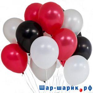 Облако шаров металлик черные, белые, красные