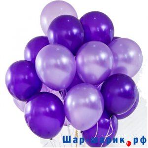 Облако шаров металлик фиолетовые и сиреневые