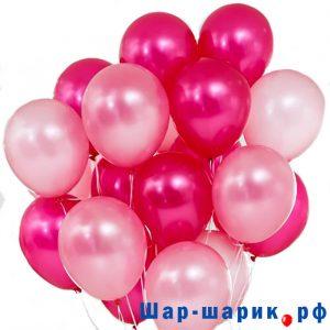 Облако шаров металлик красные и розовые