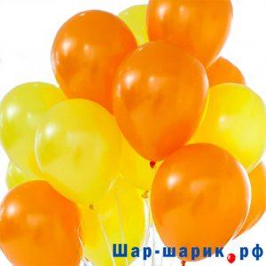 Облако шаров пастель желтые и оранжевые