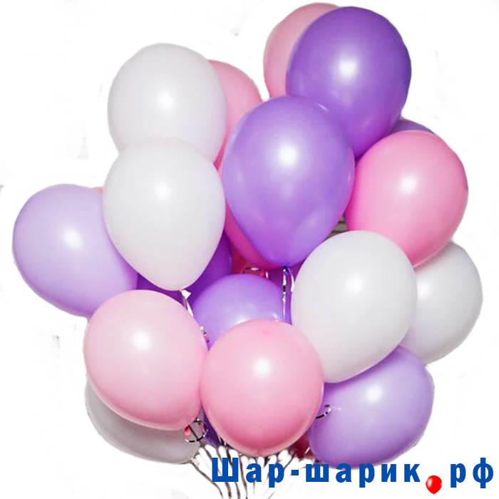 Облако шаров пастель сиреневые, белые, розовые