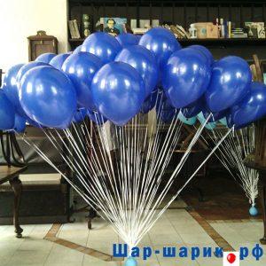 Облако шаров пастель синие