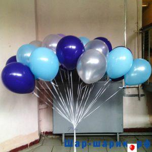 Облако шаров металлик синие, голубые, серебряные