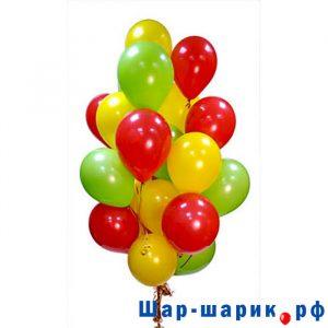 Облако шаров пастель красные, желтые, зеленые
