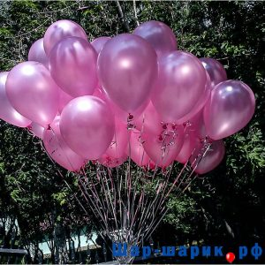 Облако шаров металлик розовые