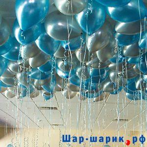 Шары под потолок металлик серебряные и голубые (SP-20)