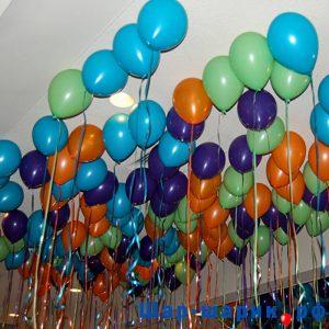 Шары под потолок пастель матовые оранжевые, голубые, фиолетовые, зеленые