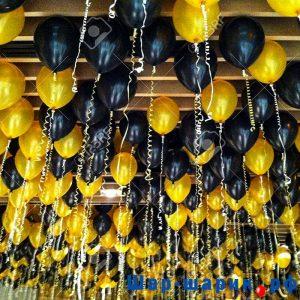 Шары под потолок пастель черные и желтые (SP-22)