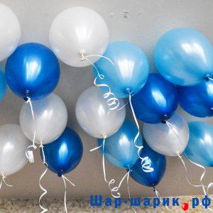 Шары под потолок металлик синий, белый, голубой (SP-4)