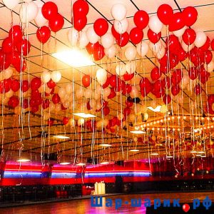 Шары под потолок пастель красные и белые (SP-6)