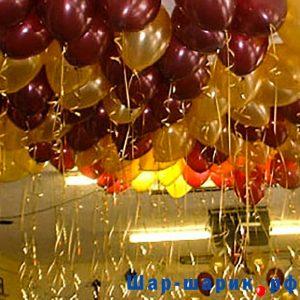 Шары под потолок металлик бордовые и золотые (SP-7)