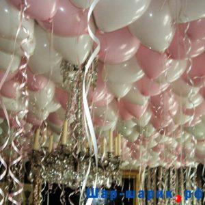 Шары под потолок пастель белые и розовые (SP-8)