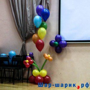 Фонтан из 7 шаров и цветов (FN-5)